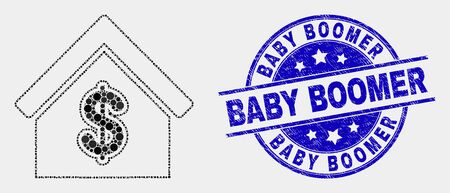 Pixel rent house mosaic icon and Baby Boomer seal. Blue vector rounded distress stamp with Baby Boomer text. Vector composition in flat style. Black isolated rent house mosaic of randomized spheres,