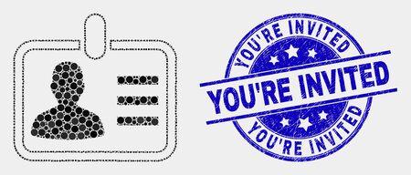 """Punkt-Personen-Abzeichen-Mosaik-Symbol und Sie sind eingeladen-Stempel. Blauer Vektor rundes zerkratztes Siegel mit der Nachricht """"You're Invited"""". Vektorkombination im flachen Stil. Vektorgrafik"""