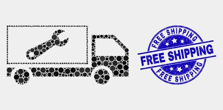 Dotted repair lorry mosaic icon and Free Shipping stamp. Blue vector round scratched seal stamp with Free Shipping text. Vector collage in flat style.