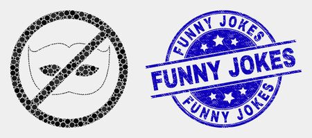 Pixel stop privacy mosaic icon and Funny Jokes seal. Blue vector round distress stamp with Funny Jokes text. Vector composition in flat style. Black isolated stop privacy mosaic of scattered spheres,