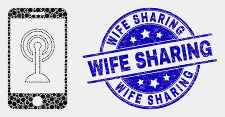 Dotted smartphone wifi hotspot mosaic pictogram and Wife Sharing stamp. Blue vector round scratched seal stamp with Wife Sharing text. Vector composition in flat style.