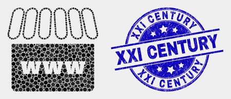 Pixel webshop mosaic pictogram and XXI Century seal stamp. Blue vector round distress seal with XXI Century title. Vector collage in flat style. Black isolated webshop mosaic of scattered spheres, Stock Illustratie