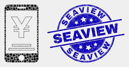 Dotted yen mobile banking mosaic pictogram and Seaview seal stamp. Blue vector round scratched seal with Seaview message. Vector composition in flat style.