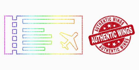 Pixelated rainbow gradiented airticket mosaic icon and Authentic Wings stamp. Red vector rounded distress seal stamp with Authentic Wings caption. Vector composition in flat style.