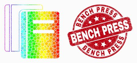 Pixel bright spectral books mosaic icon and Bench Press seal stamp. Red vector rounded distress seal with Bench Press phrase. Vector collage in flat style.