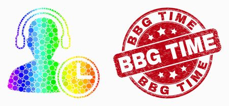 Dot rainbow gradiented operator time mosaic icon and Bbg Time stamp. Red vector rounded grunge seal stamp with Bbg Time phrase. Vector composition in flat style.