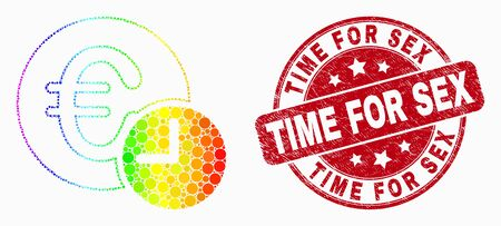 Dot rainbow gradiented euro credit time mosaic icon and Time for Sex seal stamp. Red vector round grunge seal stamp with Time for Sex message. Vector combination in flat style.