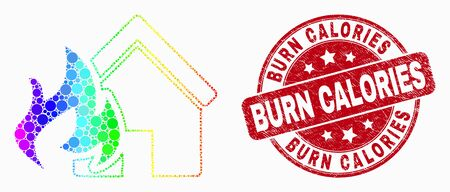 Dot rainbow gradiented house fire disaster mosaic icon and Burn Calories seal stamp. Red vector round distress seal with Burn Calories text. Vector combination in flat style.  イラスト・ベクター素材