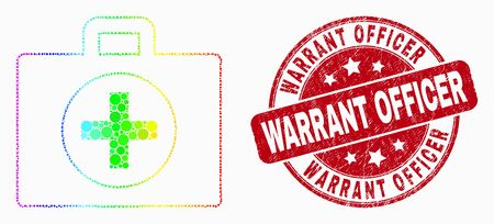 Dot bright spectral medical case mosaic icon and Warrant Officer seal. Red vector round grunge seal stamp with Warrant Officer title. Vector collage in flat style.