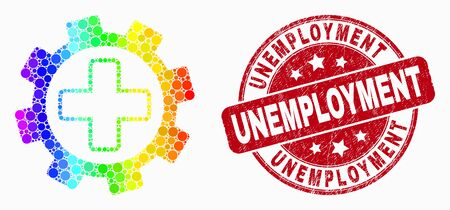 Dot bright spectral medical service gear mosaic pictogram and Unemployment watermark. Red vector rounded scratched seal stamp with Unemployment message. Vector collage in flat style.