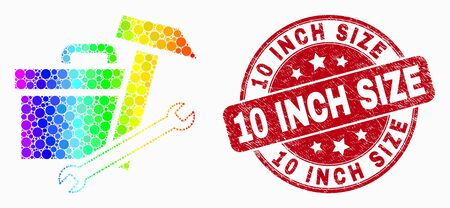Dot rainbow gradiented toolbox mosaic icon and 10 Inch Size seal stamp. Red vector rounded distress stamp with 10 Inch Size text. Vector combination in flat style.