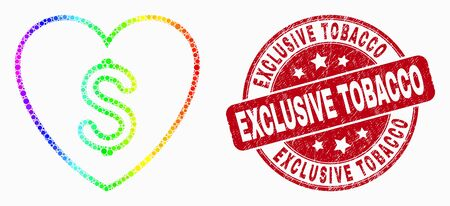 Dot rainbow gradiented love price mosaic icon and Exclusive Tobacco seal stamp. Red vector round grunge stamp with Exclusive Tobacco text. Vector collage in flat style.