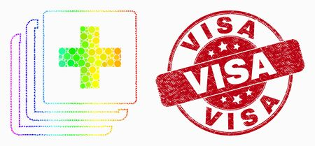 Dot rainbow gradiented medical data mosaic pictogram and Visa seal. Red vector round scratched stamp with Visa title. Vector collage in flat style.