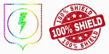 Dotted bright spectral electric shield mosaic pictogram and 100% Shield watermark. Red vector round grunge watermark with 100% Shield title. Vector collage in flat style.