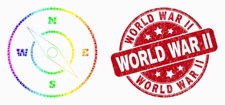 Pixel rainbow gradiented compass mosaic pictogram and World War Ii watermark. Red vector round textured watermark with World War Ii message. Vector combination in flat style.