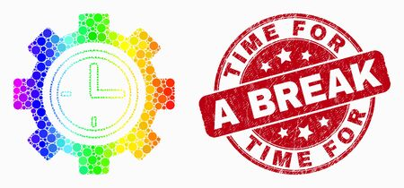 Dotted spectrum clock setup wheel mosaic icon and Time for a Break seal stamp. Red vector round textured seal with Time for a Break caption. Vector composition in flat style.