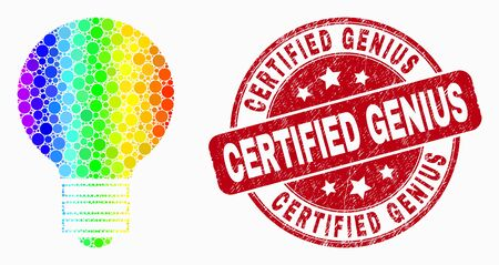 Pixelated rainbow gradiented electric bulb mosaic icon and Certified Genius seal stamp. Red vector rounded distress stamp with Certified Genius phrase. Vector combination in flat style.