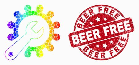 Pixelated bright spectral repair tools mosaic icon and Beer Free watermark. Red vector round grunge watermark with Beer Free phrase. Vector combination in flat style.  イラスト・ベクター素材
