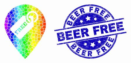 Dotted rainbow gradiented free tag marker mosaic icon and Beer Free stamp. Blue vector rounded distress seal with Beer Free text. Vector collage in flat style.