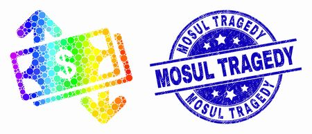 Pixel spectrum banknotes exchange arrows mosaic icon and Mosul Tragedy seal stamp. Blue vector round scratched stamp with Mosul Tragedy title. Vector composition in flat style.