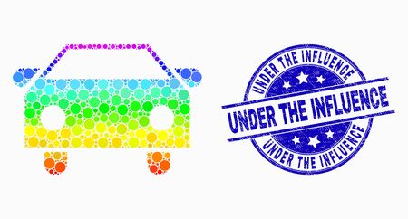 Dot bright spectral car mosaic icon and Under the Influence seal stamp. Blue vector rounded grunge seal stamp with Under the Influence message. Vector collage in flat style.