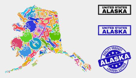 Vector collage of tools Alaska map and blue stamp for quality product. Alaska map collage formed with tools, wrenches, industry symbols. Vector abstract collage of Alaska map for service business,