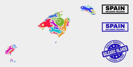 Vector collage of service Balearic Islands map and blue watermark for quality product. Balearic Islands map collage created with tools, spanners, production symbols.