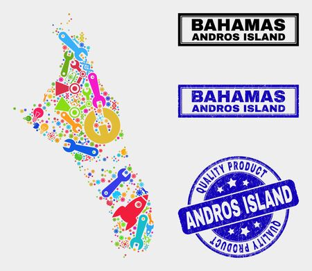 Vector combination of service Andros Island of Bahamas map and blue seal stamp for quality product. Andros Island of Bahamas map collage constructed with tools, wrenches, science icons.