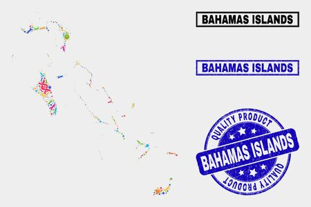 Vector collage of industrial Bahamas Islands map and blue watermark for quality product. Bahamas Islands map collage constructed with tools, wrenches, production icons.