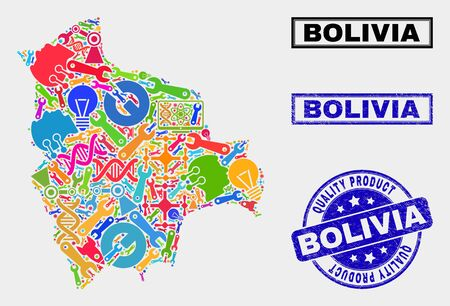Vector collage of service Bolivia map and blue watermark for quality product. Bolivia map collage composed with equipment, spanners, industry icons.