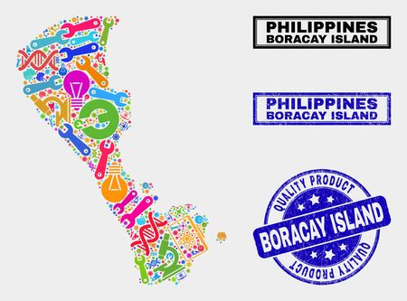 Vector collage of tools Boracay Island map and blue watermark for quality product. Boracay Island map collage created with tools, spanners, production icons.