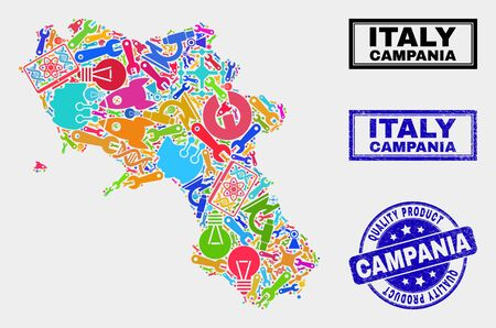 Vector collage of service Campania region map and blue stamp for quality product. Campania region map collage constructed with tools, wrenches, science symbols. Banque d'images - 128735029