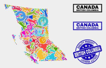 Vector collage of tools British Columbia map and blue stamp for quality product. British Columbia map collage composed with tools, spanners, production icons.