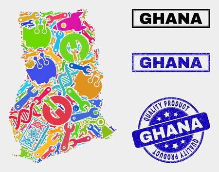 Vector collage of service Ghana map and blue seal stamp for quality product. Ghana map collage formed with tools, spanners, industry icons. Vector abstract collage of Ghana map for service business, Banque d'images - 128735054
