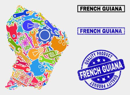 Vector combination of service French Guiana map and blue seal for quality product. French Guiana map collage composed with equipment, spanners, science symbols. Illustration