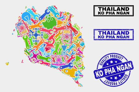 Vector collage of service Ko Pha Ngan map and blue seal stamp for quality product. Ko Pha Ngan map collage created with equipment, wrenches, industry icons. Illustration