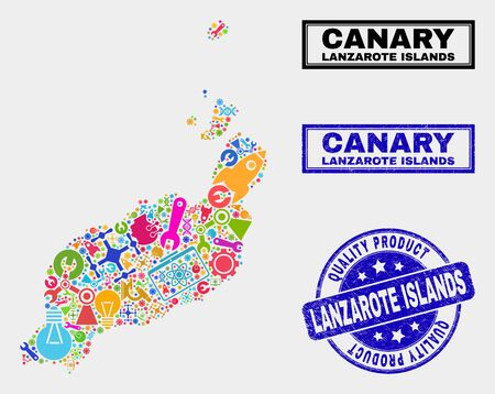 Vector collage of service Lanzarote Islands map and blue watermark for quality product. Lanzarote Islands map collage made with equipment, spanners, science icons.