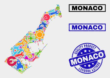 Vector combination of service Monaco map and blue seal for quality product. Monaco map collage made with tools, spanners, industry symbols. Vector abstract collage of Monaco map for service business, Banque d'images - 128735490