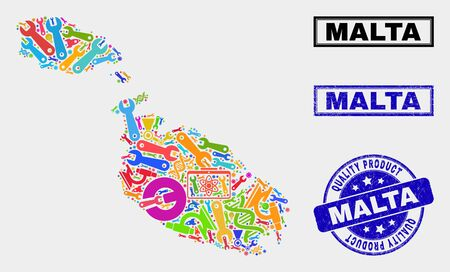 Vector collage of service Malta map and blue watermark for quality product. Malta map collage formed with equipment, spanners, science symbols.