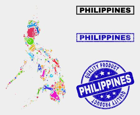 Vector collage of industrial Philippines map and blue seal stamp for quality product. Philippines map collage constructed with equipment, wrenches, science icons.