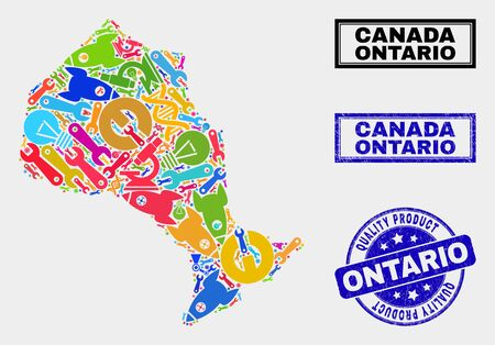 Vector collage of service Ontario Province map and blue watermark for quality product. Ontario Province map collage constructed with equipment, spanners, production icons.