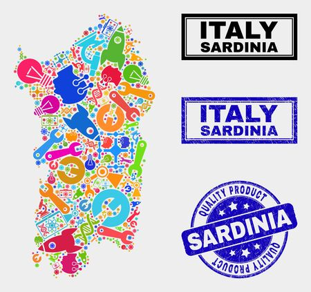 Vector collage of tools Sardinia map and blue stamp for quality product. Sardinia map collage made with equipment, wrenches, production symbols. Ilustrace