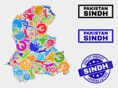 Vector collage of service Sindh Province map and blue watermark for quality product. Sindh Province map collage created with equipment, spanners, science icons. Banque d'images - 128735693