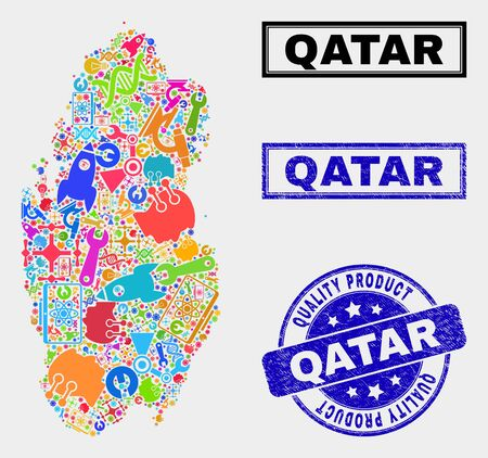 Vector collage of tools Qatar map and blue watermark for quality product. Qatar map collage composed with tools, wrenches, industry icons. Vector abstract collage of Qatar map for service business,