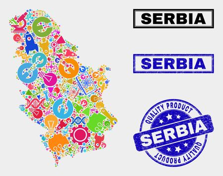 Vector collage of tools Serbia map and blue seal for quality product. Serbia map collage created with tools, spanners, industry symbols. Vector abstract mosaic of Serbia map for service business,