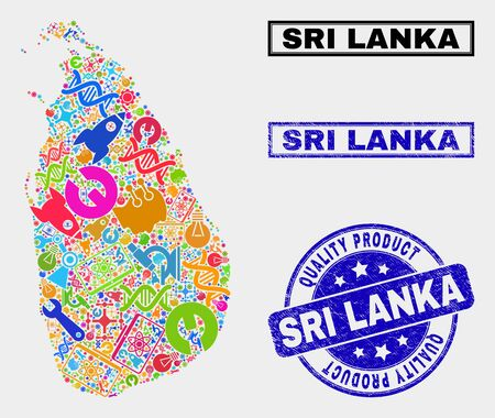 Vector collage of service Sri Lanka map and blue stamp for quality product. Sri Lanka map collage created with equipment, wrenches, science icons.
