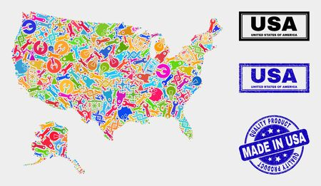 Vector collage of tools USA with Alaska map and blue seal stamp for quality product. USA with Alaska map collage designed with tools, spanners, production icons. Иллюстрация