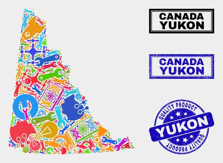 Vector collage of tools Yukon Province map and blue stamp for quality product. Yukon Province map collage designed with tools, wrenches, science symbols. Illustration
