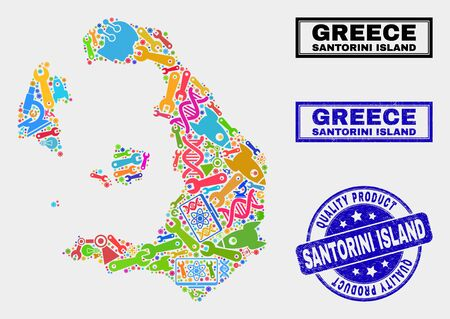 Vector collage of technology Santorini Island map and blue watermark for quality product. Santorini Island map collage formed with equipment, wrenches, industry icons. Illusztráció