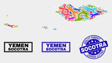Vector collage of technology Socotra Archipelago map and blue watermark for quality product. Socotra Archipelago map collage composed with equipment, wrenches, industry symbols. Illustration